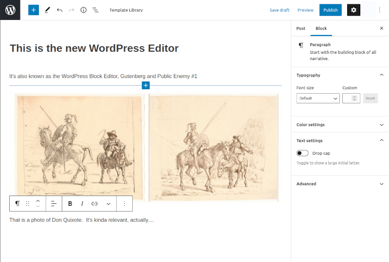 Gutenberg WordPress Editor layout