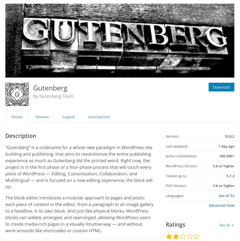 Gutenberg WordPress plugin details
